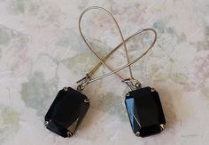 Black Earrings made with Vintage Glass Classic by ArtistInJewelry