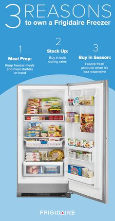 There are many reasons to add a secondary freezer to your home. Freezers give you extra space to stock up during sales and to be able to prepare meals in advance. The Frigidaire 2-in-1 Freezer/Refrigerator can even be converted from a freezer into a refrigerator for the holiday season or times when you're storing extra beverages and party trays.