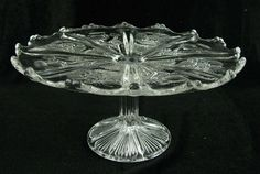 Vintage Glass Crystal Thistle Cake Plate Stand by perfectcorners, $69.99