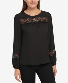 Tommy Hilfiger Embroidered Top, Created for Macy's - Pink XS Kebaya Dress, Blouse Dress, Tommy Hilfiger, Denim And Lace, Elegant Outfit, Simple Outfits, Curvy Fashion, Blouse Designs, Fashion Outfits