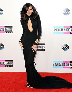 Naya Rivera on the red carpet in a black gown from Michael Kors' fall 2012 collection