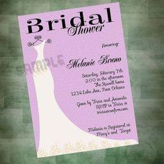 Burlap Lilac Bridal Shower Invitation Fancy Dress