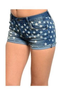 Measurements are for size SMALL (Juniors Sizing): Waist-13 Length-10 65%COTTON 33%POLYESTER 2%SPANDEX Made in CHINA These trendy denim shorts feature a faded look, cuffed hem, star print, low rise, and button front closure with zipper. Our Star Print USA Denim Jean Shorts are perfect for the beach or a day of shopping with friends. These trendy denim shorts feature a faded look, cuffed hem, star print, low rise, and button front closure with zipper. Complete the look with a flowy crop top…