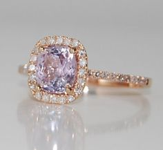 Lilac and Roses - 2.17ct cushion lavender pink sapphire rose gold diamond ring 14k