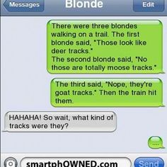 It was a train track! Funny Blonde Jokes, Funny Texts Jokes, Text Jokes, Funny Memes, Corny Jokes, Best Quotes, Funny Quotes, Awesome Quotes, Awkward Texts