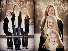 sister portraits. casual. winter setting. snow. family photography. brown.