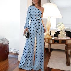 Product Fashion Pure Colour Off-Shoulder Polka Dot Jumpsuit Brand Name Dreamlipshop SKU Gender Women Style Casual/Elegant/Modern Type Jumpsuit Material Polyester Fiber Decoration Polka Dot PleaseNote: All dimensions are measured manually with Off Shoulder Jumpsuit, Jumpsuit With Sleeves, Look Fashion, Fashion Outfits, Womens Fashion, Fashion Boots, Jumpsuit Outfit, Casual Jumpsuit, Halter Jumpsuit