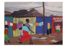 Shopping in the township and Spaza shop (grocery store) South Africa, African, Tapestry, Grocery Store, Painting, Shopping, Design, Art, Hanging Tapestry