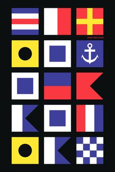 Chris Sebastian in international maritime signal flags. The names are separated by the Sebastian family anchor.