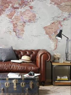 Living Room Wallpaper Inspiration : This Classic World Map mural makes a super sophisticated living room. World Map Wallpaper, Room Wallpaper, Custom Wallpaper, Globe Wallpaper, Wallpaper Designs, Wallpaper Gallery, Interior Walls, Interior Design, Bathroom Interior