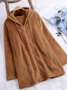 Casual Long Sleeve Zipper Solid Hoodie Coat - Wine Red S Plain Hoodies, Cool Hoodies, Sophisticated Dress, Colorful Hoodies, Latest Fashion For Women, Womens Fashion, Types Of Sleeves, Plus Size, Long Sleeve