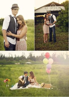 Vintage Picnic Engagement Session by Bella Chic Photography | Style Me Pretty