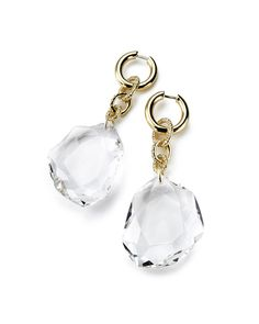 Diane von Furstenberg by H.Stern collection.  Earrings Rock Crystal in 18K yellow gold with rock crystal and diamonds.
