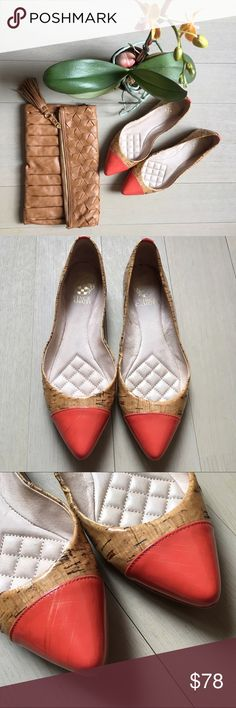 ✨Vince Camuto Cap Toe Flats✨ I'm so in love with these shoes! Cork with a pretty bright coral and gold cross hatch cap toe, these flats are perfect! There is lots of cushion inside as well. Gently used with slight wear inside and on the sole. Vince Camuto Shoes Flats & Loafers