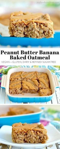 Healthy Peanut Butter Banana Baked Oatmeal Recipe! The perfect make-ahead breakfast! Gluten-free dairy-free and vegan-friendly with zero refined sugar!
