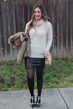 HOLIDAY PARTY LOOK – SEQUIN SKIRT