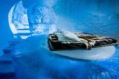 room in the ice hotel isin Jukkasjärvi, near Kiruna, in Swedish Lapland