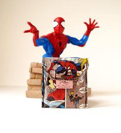SPIDERMAN Kartentäschchen Upcycling Unikat! Ec Karten, Kreditkartenetui, Universal Täschchen TINTIN Comic Recycling handmade in Berlin von PauwPauw auf Etsy