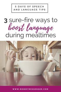 Tips and Ideas for Building Expressive and Receptive Language Skills During Mealtime - Language Activities for Toddlers with Speech Delay - 3 Sure-Fire Ways To Boost Language During Mealtimes Learning Toys For Toddlers, Parenting Toddlers, Parenting Advice, Parenting Styles, Foster Parenting, Mom Advice, Toddler Learning, Preschool Learning, Early Learning