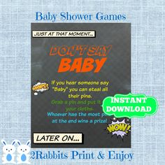 #Superhero Don't Say Baby Baby Shower Printable Sign Game -Chalkboard Baby Shower Pin Cloths Baby Shower Game - Superhero Instant Download  #superherobabyshowergames #dontsaybabyshowergame #chalkboardbabyshowersign