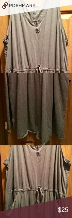 Cacique 26/28 Grey Tank Sleep/Lounge Dress Cacique 26/28 Grey cotton tank Sleep/lounge dress. Gathered at waist and has pockets. Maxi length. Super comfy. Cacique Intimates & Sleepwear