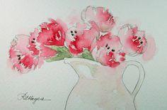 Pink Tulips Original Watercolor Painting Flowers by RoseAnnHayes, $26.00