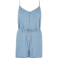 River Island Blue romper romper (30.525 CRC) ❤ liked on Polyvore featuring jumpsuits, rompers, dresses, playsuits, jumpsuit, shorts, blue, rompers/ jumpsuits, women and denim jumpsuit