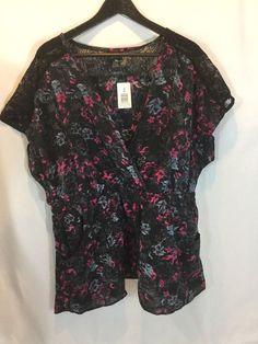 TORRID ✨NWT✨ Floral Lace Yoke Faux Wrap SS Blouson Blouse W/pockets Sz. 3XNEW #TORRID #Blouse #CasualDressyCareer
