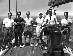 Afterguard of the J Boat Ranger.  Harold Vanderbilt at the helm, Rod and Olin Stephens on the left.