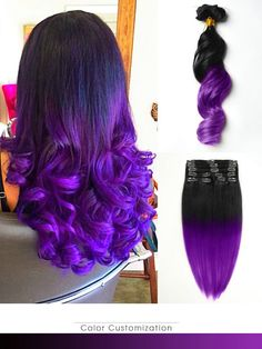 Black to Purple Mermaid Dip Dye Colorful Ombre Indian Remy Clip In Hair Extensions TC1008