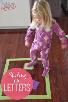 Skating on Letters {Move & Learn} from Toddler Approved