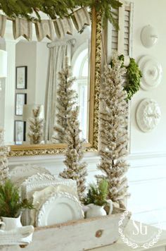 BON NOEL- HOW TO CREATE FRENCH CHRISTMAS DECOR-christmas trees with snow-stonegableblog.com