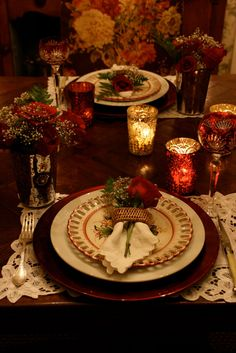"Party & Holidays has lots of nice place settings and tablescaping ideas along with napkin folding and etiquette boards.....check out ""Party & Holidays over 300 pinboards........candlelight"