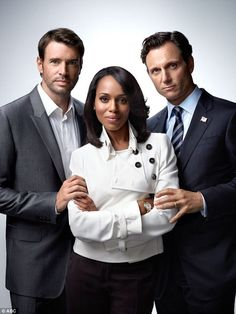 Love triangle: Kerry pictured with her on-screen love interests, Scott (left) and Tony (ri...