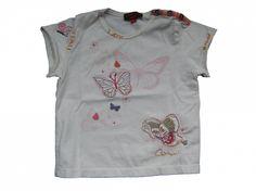 Maat 62 T-shirt Creme met vlinders Merk Catimini
