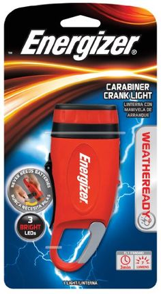 Amazon.com: Energizer Weatheready 3-LED Carabineer Rechargeable Crank Light, Red: Sports & Outdoors