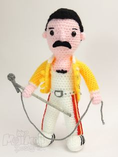 "Freddie Mercury Doll - Free Amigurumi Pattern - Click to ""DOWNLOAD"" (green letters) - here: http://mojimojidesign.com/2015/05/20/ready-freddie-go/"