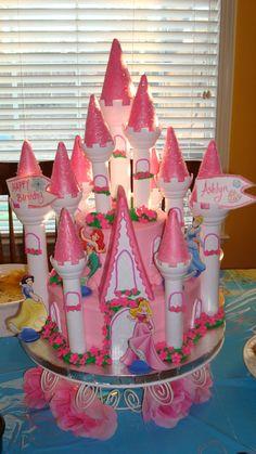 Disney Princess Castle Birthday Cake #birthdaycake