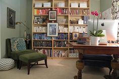 A bookshelf, luxurious lounger and lighting source are all you need to create a reading nook