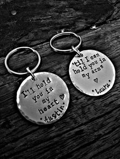Long Distance Keychain set by PreciousPodsBySarahO on Etsy, $20.00