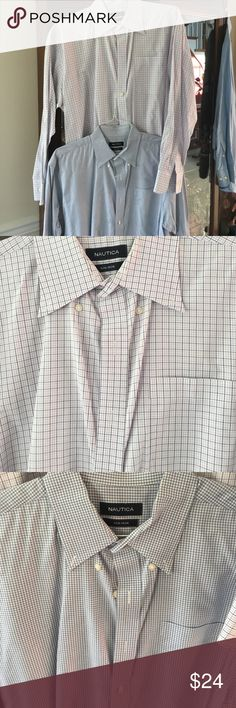 Nautica 2 Men's dress shirts 2 shirts 17 34/35 freshly dry cleaned! Shirts Dress Shirts