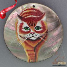 HAND PAINTED CAT NATURAL MOP MOTHER OF PEARL SHELL NECKLACE PENDANT ZH30 00041 #ZL #PENDANT