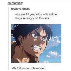 Eren is a *cough* uh... GREAT role model...