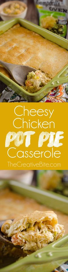 Cheesy Chicken Pot Pie Casserole is a quick and easy 20 minute weeknight dinner idea with only 5 ingredients! Creamy chicken and vegetables with Campbell's Cheesy Broccoli Chicken Oven Sauce are topped with a flaky crescent crust for a delicious recipe the whole family will love! #Chicken #PotPie #Casserole http://www.thecreativebite.com/cheesy-chicken-pot-pie-casserole/?utm_campaign=coschedule&utm_source=pinterest&utm_medium=Danielle%20%7C%20The%20Creative%20Bite&utm_content...