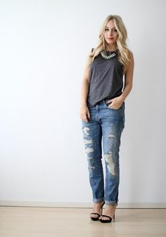 Rolled up jeans with heels- a must for the season!