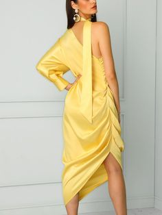 boutiquefeel / Choker One Shoulder Scrunch Slit Side Maxi Dress Couture Fashion, Girl Fashion, Gypsy Fashion, Fashion Outfits, Womens Fashion, Fashion Design, V Dress, Navy Midi Dress, Dress Outfits