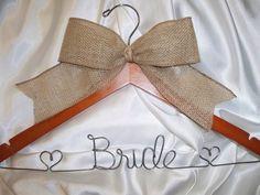 Wedding dress hanger  burlap bow  Personalized wedding BRIDAL hanger  bridesmaid gift  rustic wedding  burlap wedding