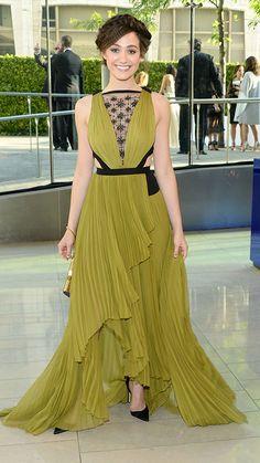 CFDA Awards 2014: Emmy Rossum in a J. Mendel gown, Manolo Blahnik shoes, and Van Cleef & Arpels jewelry.