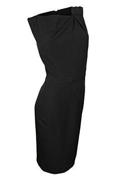 Anne Klein Women's Asymmetrical Neckline Pocket Dress, Black, 10