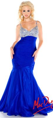 Mac Duggal 2014 Plus Size Prom Dresses - Electric Blue Sequin Beaded Fitted Mermaid Gown